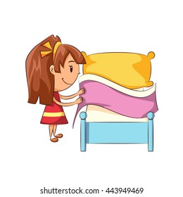 Girl making bed, vector illustration