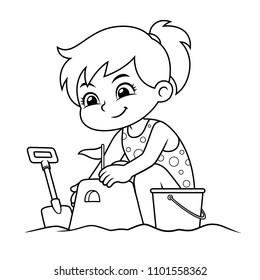 Girl Making Sand Castle BW.