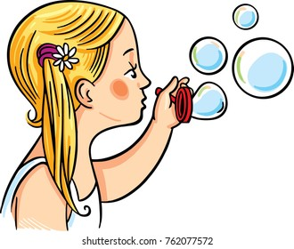 A girl making soap bubbles. Vector illustration.