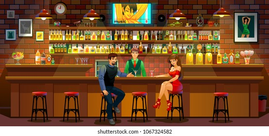The girl and the man in the bar