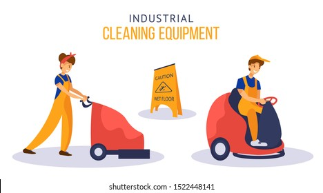 Girl and man cleaning service workers using scrubber machines (floor washing machines). Vector illustration with flat cartoon characters isolated on white background.