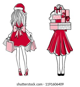 Girl with many gifts. Merry Christmas and Happy New Year vector card. Holidays illustration. Beautiful woman in a dress with many gift boxes. Christmas background. Fashion sketches.