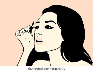 Girl with mascara brush