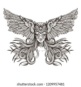 Girl with mask of owl. Outline vector illustration isolated on white background for tattoos, posters, print on T-shirts and other items.