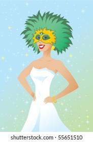 Girl at Masked Ball or Mardi gras