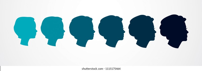 Girl maturation age years concept, adulthood idea, the time of life, periods and cycle of life, growing old, from infancy to maturity. Vector simple classic icon or logo design.