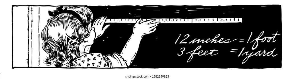 Girl Measuring the chalkboard using a yardstick or chalkboard, feet, inches, measuring, yard,  vintage line drawing or engraving illustration.