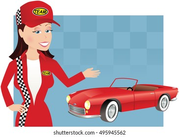 Girl mechanic and car.