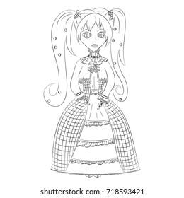 girl medieval dress vector illustration anime stock vector royalty