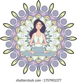 girl is meditating. namaste mandala.  girl in lotus position on the background of the mandala