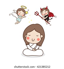A girl meditating in white outfit with angel and devil above her head. Vector Illustration.