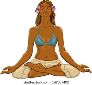 Girl in a meditation / vector illustration