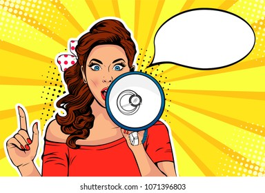Girl with megaphone pop art retro vector illustration. Woman with loudspeaker. Female announcing discount or sale. Special offer, shopping time, protest or meeting.