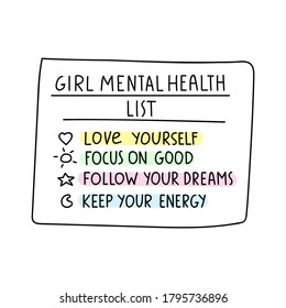 Girl mental health list. Inspirational checklist. Illustration on white background.