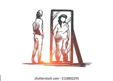 Girl, mirror, body, distorted, weight concept. Hand drawn unhappy teenage girl looks at mirror with distorted body image concept sketch. Isolated vector illustration.