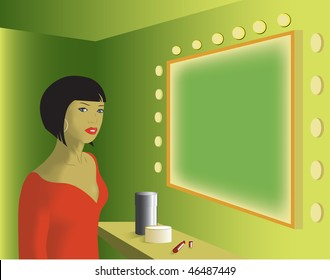 The girl at a mirror with a little table and cosmetics.