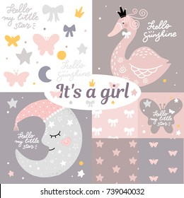 Girl moon butterfly swan