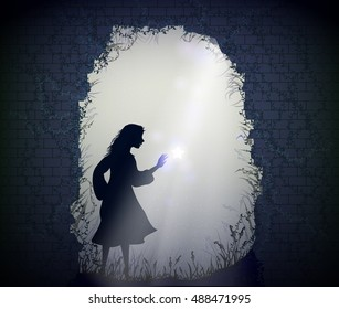 girl in the moon light touches the falling star, Alice in the fairy garden, silhouette of girl in the fairy night garden, vector