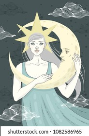 Girl with moon. Vector illustration.