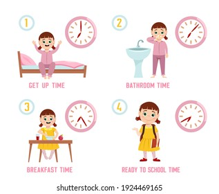 Girl morning routine. Funny character. Every day schedule. Waking up, brushing teeth, dressing up, eating, getting ready to school. Cartoon flat style. Vector illustration isolated on white background