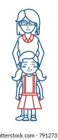 Girl and mother cartoon design