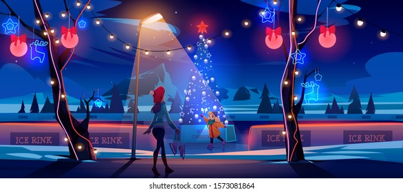 Girl with mother at night Christmas ice rink with decorated fir tree and lights. Woman with little daughter skating in public place, walking in winter park at nighttime. Cartoon vector illustration
