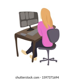 The girl mounts a video for a blog. Freelancer on video. Work at the computer. Illustration. Vector graphics