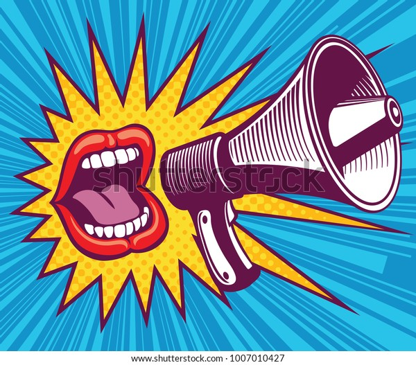 Boca de menina com megafone. Ilustração vetorial em estilo pop art. Boca e discurso megafone, feminino gritando anunciar ilustração