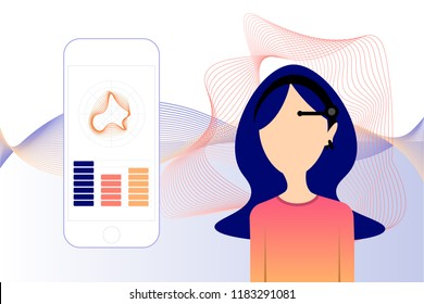 Girl in neuro headset with mobile app. Concept of neuro fitness app and device, mind wave