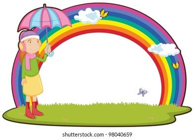 girl next to rainbow