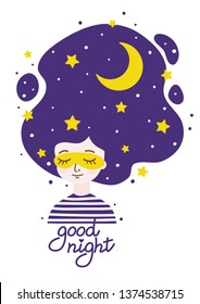 Girl with night sky in hair - concept of calm and sleep and tranquility