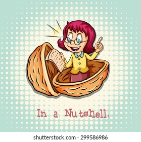 Girl in a nutshell idiom illustration