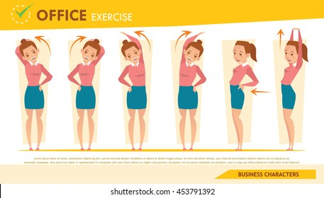 girl office syndrome info graphic and stretching exercise set 2
