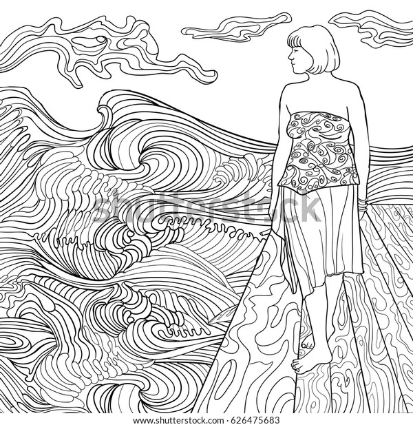 Girl On Beach Coloring Book Adults Stock Vector (Royalty Free) 626475683
