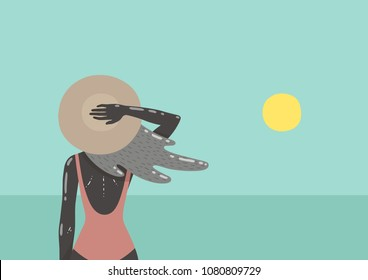 Girl on beach looking at the sea. Vector illustration