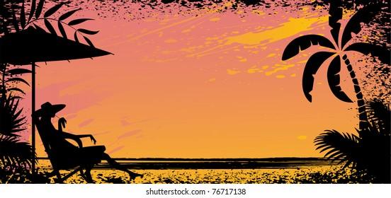 girl on beach. Vector silhouette banner