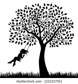 Girl on the big tree swing, vector background
