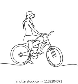 Girl on bike continuous line sketch