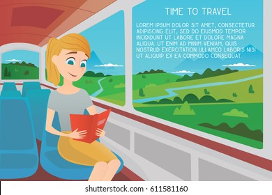 A girl on a bus reading a book. Time to travel. Cartoon vector illustration.