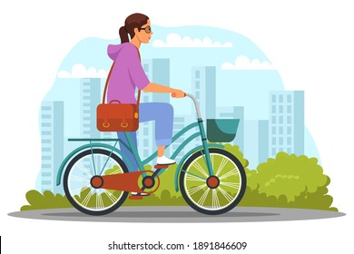 Girl on commute to work by bike. Daily routine of young woman schedule vector illustration. Female cycling on street with trees, sky with sun and clouds in background. Healthy lifestyle.