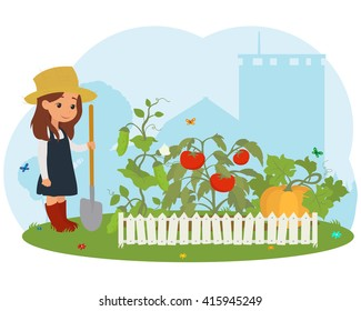 girl on the farm caring for vegetables. vector