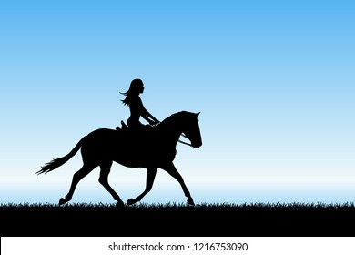 Girl on horse by sea. Vector illustration with silhouette of running horse and female rider. Blue pastel background