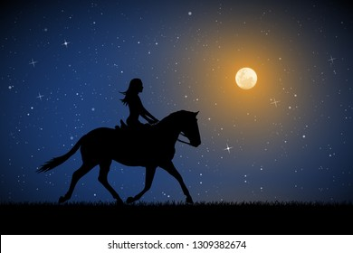 Girl on horse on moonlit night. Vector illustration with silhouette of running horse and female rider in park. Full moon in starry sky