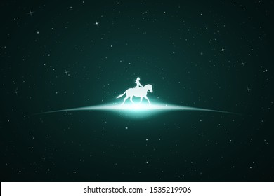 Girl on horse in space. Vector conceptual illustration with white silhouette of running horse and female rider. Emerald abstract background with stars and glowing outline