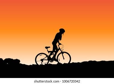 Girl on a mountain bike