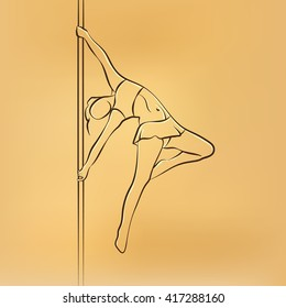 Girl on the pole. Pole dance vector retro drawing illustration.