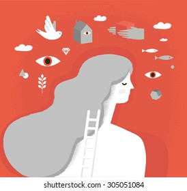 Girl on psychotherapy. Dream Head. Psychology vector illustration