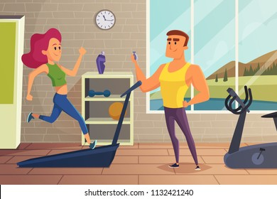 Girl on running track. Fitness illustration of female personal training. Workout and training jogging, exercise on treadmill vector