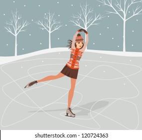 Girl on skates .Winter decoration. Vector