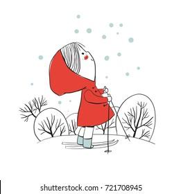 Girl on skis. Christmas card.